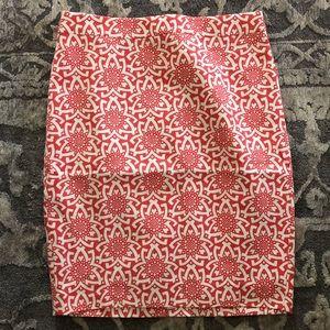 J. Crew red geometric printed lines skirt